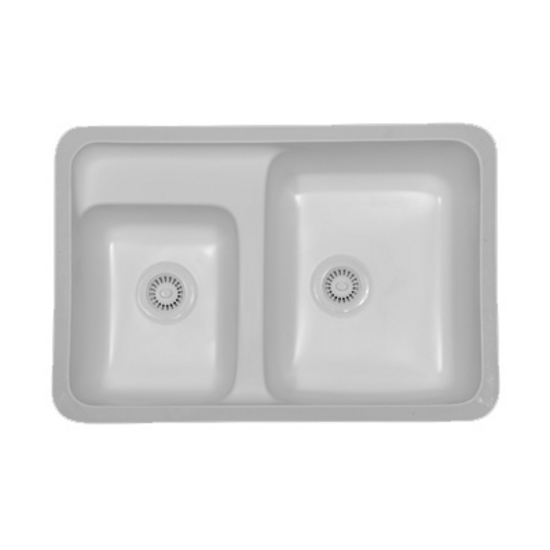 Karran Concord Double Bowl Under Mount Sink w/ Integrated / Recessed Faucet Deck