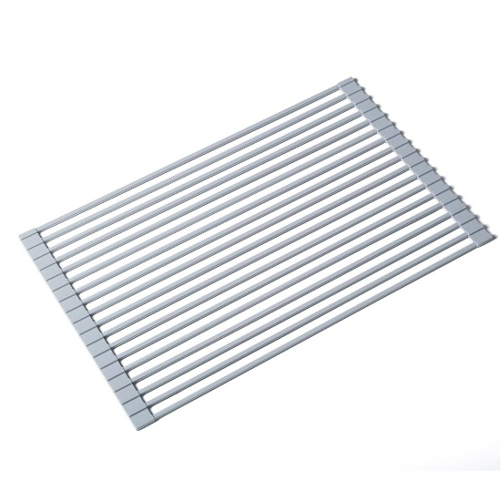 multipurpose over sink roll up dish drying rack in black or grey by kraus. Black Bedroom Furniture Sets. Home Design Ideas