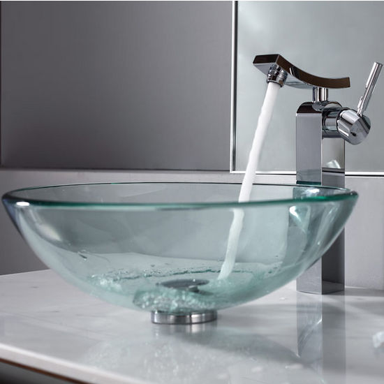 Kraus Clear Glass Vessel Sink and Unicus Chrome Faucet