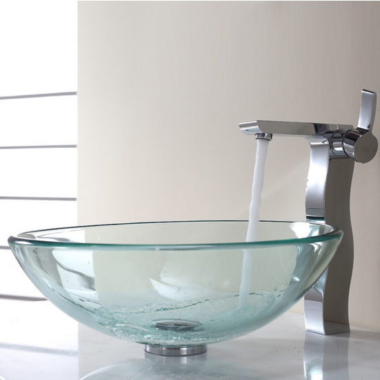 Kraus Clear Glass Vessel Sink and Sonus Chrome Faucet