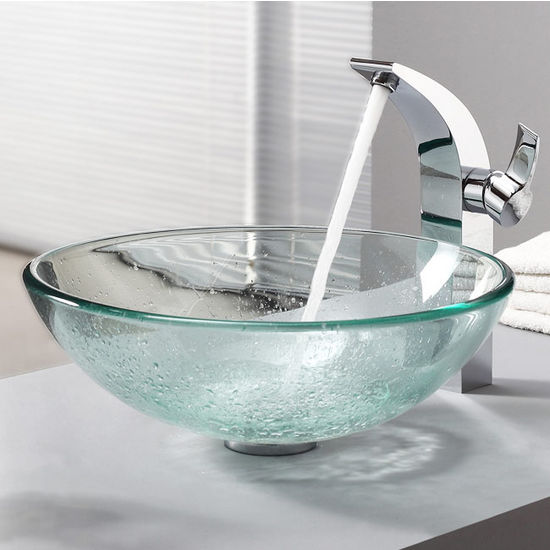 Kraus Clear Glass Vessel Sink and Illusio Chrome Faucet