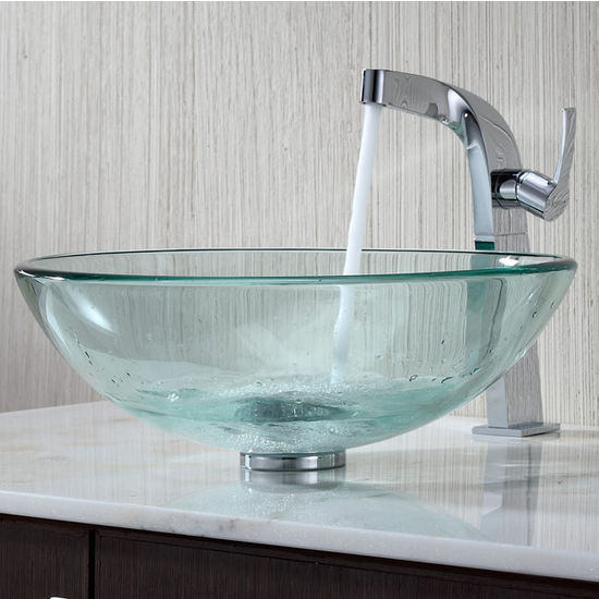Kraus Clear Glass Vessel Sink and Typhon Chrome Faucet