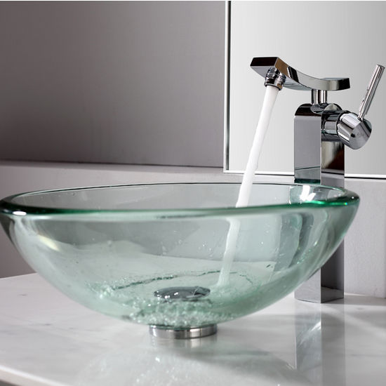 Kraus Clear 19mm thick Glass Vessel Sink and Unicus Chrome Faucet