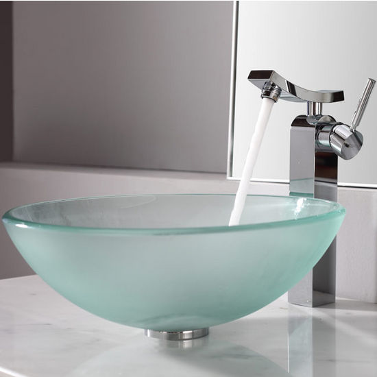 Kraus Frosted Glass Vessel Sink and Unicus Chrome Faucet