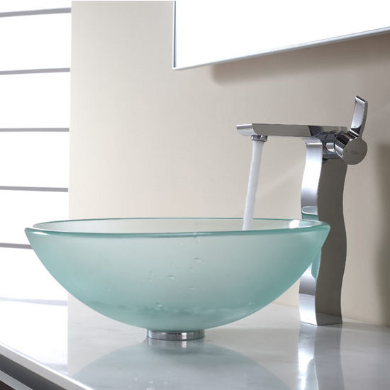 Kraus Frosted Glass Vessel Sink and Sonus Chrome Faucet