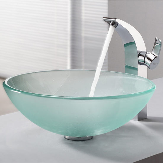 Kraus Frosted Glass Vessel Sink and Illusio Chrome Faucet