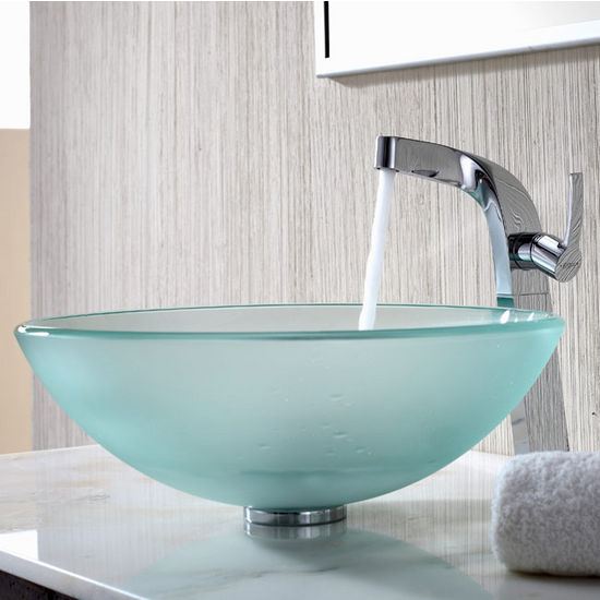 Kraus Frosted Glass Vessel Sink and Typhon Chrome Faucet