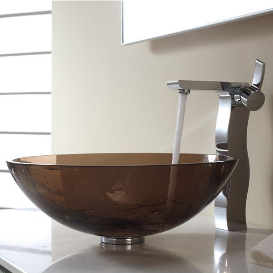 Kraus Clear Brown Glass Vessel Sink and Sonus Chrome Faucet