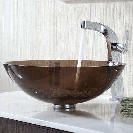 Kraus Clear Brown Glass Vessel Sink and Typhon Chrome Faucet