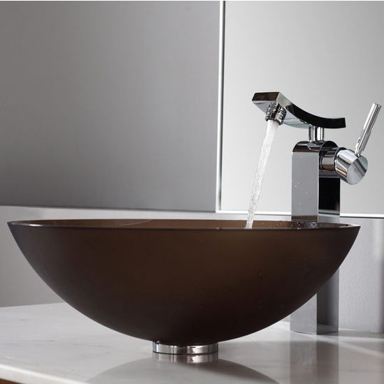 Kraus Frosted Brown Glass Vessel Sink and Unicus Chrome Faucet
