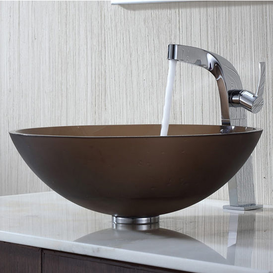 Kraus Frosted Brown Glass Vessel Sink and Typhon Chrome Faucet