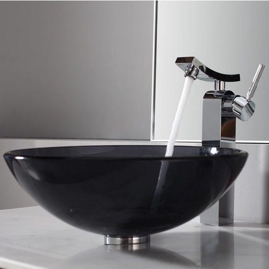 Kraus Clear Black Glass Vessel Sink and Unicus Chrome Faucet