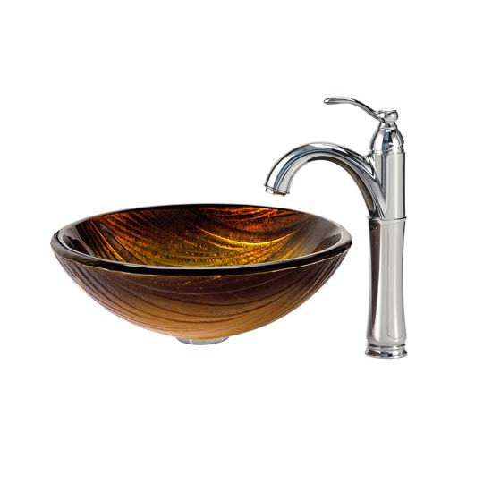 Kraus Midas Glass Vessel Sink and Riviera Faucet Chrome Set