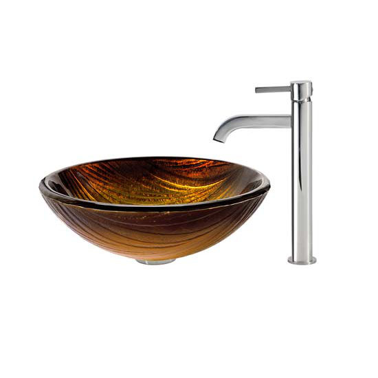 Kraus Midas Glass Vessel Sink and Ramus Faucet Chrome Set