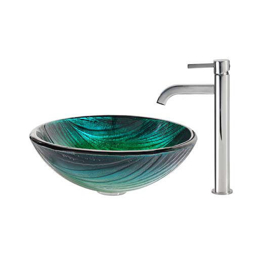 Kraus Nei Glass Vessel Sink and Ramus Faucet Chrome Set