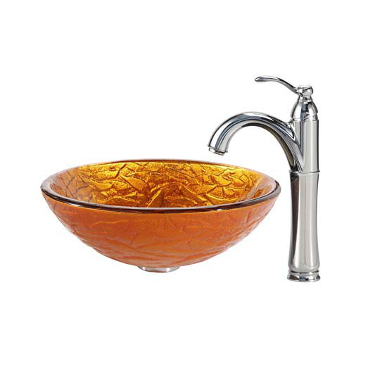Kraus Blaze Glass Vessel Sink and Riviera Faucet Chrome Set
