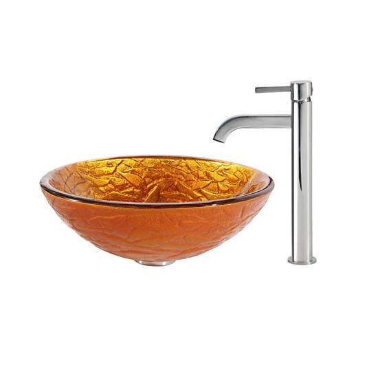 Kraus Blaze Glass Vessel Sink and Ramus Faucet Chrome Set