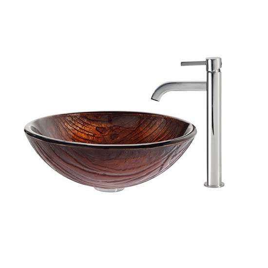 Kraus Titania Glass Vessel Sink and Ramus Faucet Chrome Set
