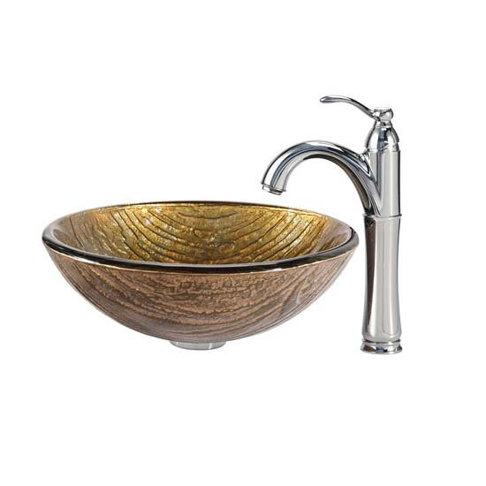 Kraus Terra Glass Vessel Sink and Riviera Faucet Chrome Set