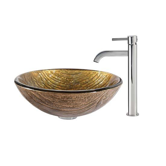 Kraus Terra Glass Vessel Sink and Ramus Faucet Chrome Set