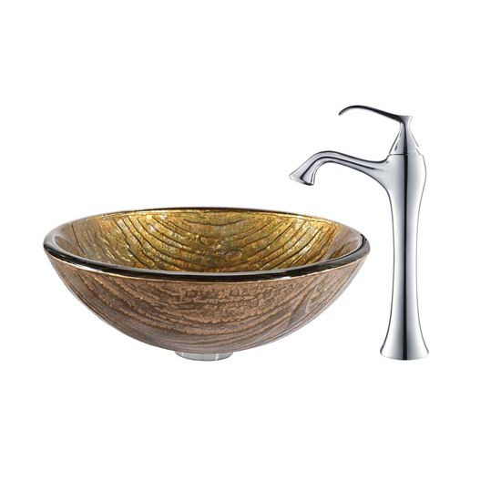 Kraus Terra Glass Vessel Sink and Ventus Faucet Chrome Set