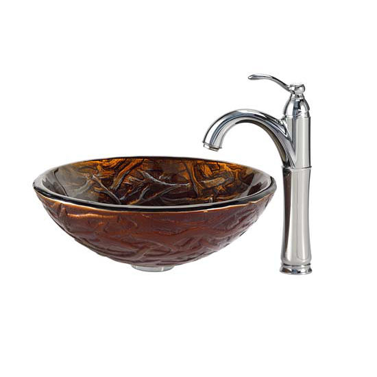 Kraus Dryad Glass Vessel Sink and Riviera Faucet Chrome Set