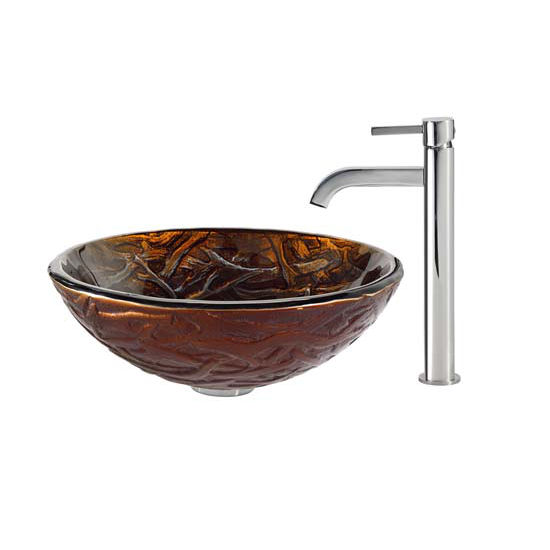 Kraus Dryad Glass Vessel Sink and Ramus Faucet Chrome Set
