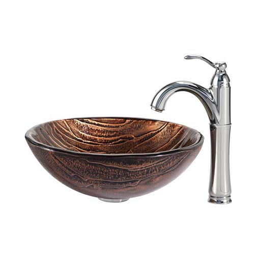 Kraus Gaia Glass Vessel Sink and Riviera Faucet Chrome Set
