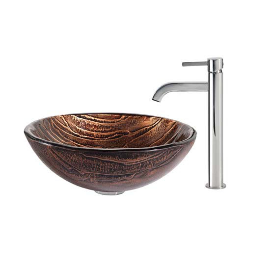 Kraus Gaia Glass Vessel Sink and Ramus Faucet Chrome Set