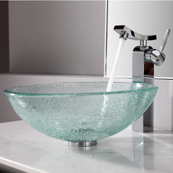 Kraus Broken Glass Vessel Sink and Unicus Chrome Faucet