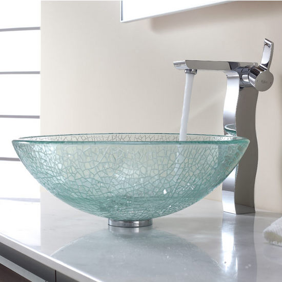 Kraus Broken Glass Vessel Sink and Sonus Chrome Faucet