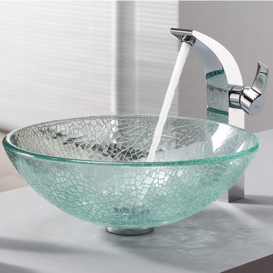 Kraus Broken Glass Vessel Sink and Illusio Chrome Faucet