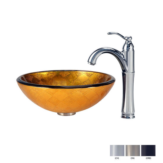 Orion Glass Vessel Sink and Riviera Faucet