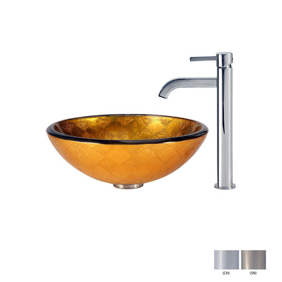 Orion Glass Vessel Sink/Ramus Faucet Swatches
