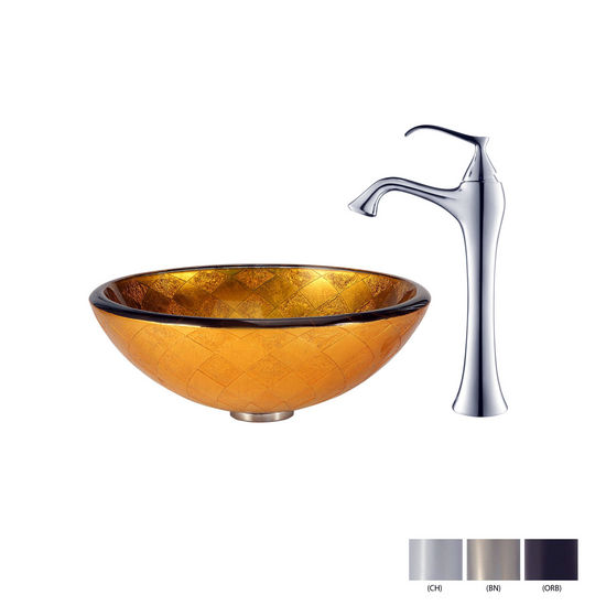 Orion Glass Vessel Sink and Ventus Faucet Swatches
