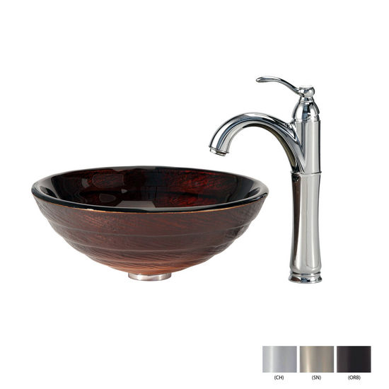 Iris Glass Vessel Sink and Riviera Faucet Finishes