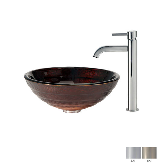 Iris Glass Vessel Sink and Ramus Faucet Finishes