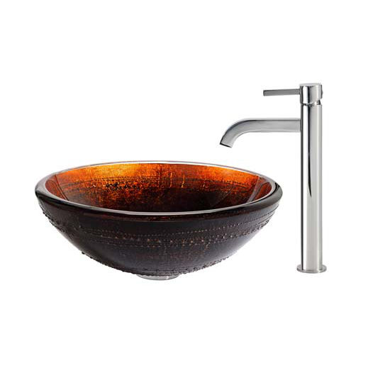 Kraus Prometheus Glass Vessel Sink and Ramus Faucet Chrome Set