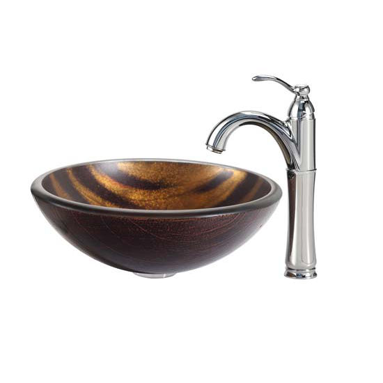 Kraus Bastet Glass Vessel Sink and Riviera Faucet Chrome Set