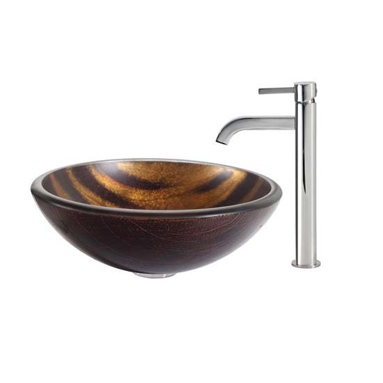 Kraus Bastet Glass Vessel Sink and Ramus Faucet Chrome Set