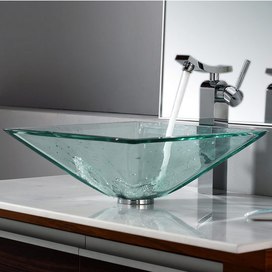 Kraus Clear Aquamarine Glass Vessel Sink and Unicus Chrome Faucet