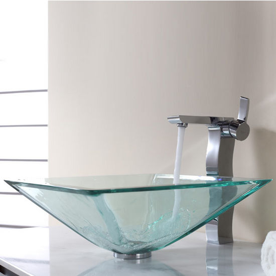 Kraus Clear Aquamarine Glass Vessel Sink and Sonus Chrome Faucet