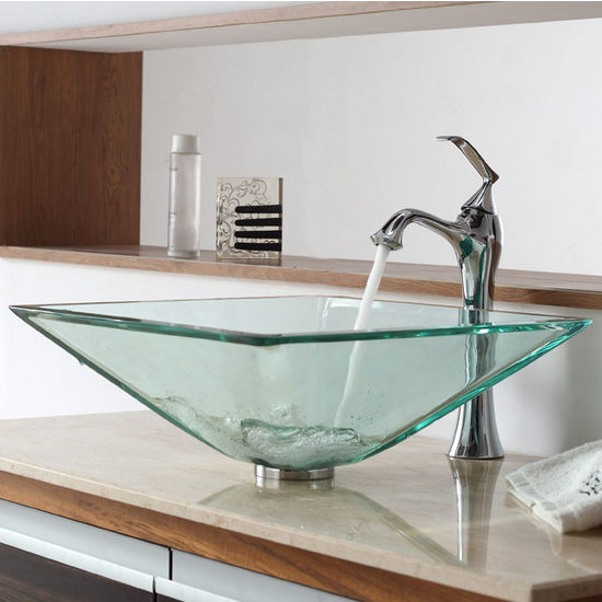 Kraus Clear Aquamarine Glass Vessel Sink and Ventus Chrome Faucet