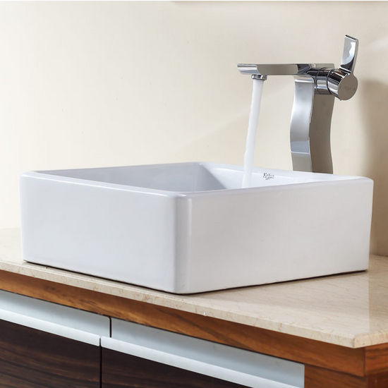 "Kraus White Square Ceramic Sink and Sonus Chrome Faucet, 15-1/5""W x 15-1/5""D x 5-1/5""H"