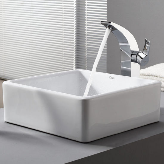 "Kraus White Square Ceramic Sink and Illusio Chrome Faucet, 15-1/5""W x 15-1/5""D x 5-1/5""H"