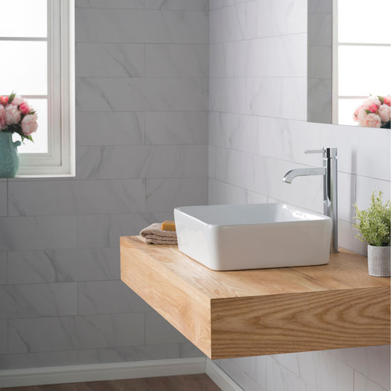 Kraus White Rectangular Ceramic Sink and Ramus Faucet, Chrome