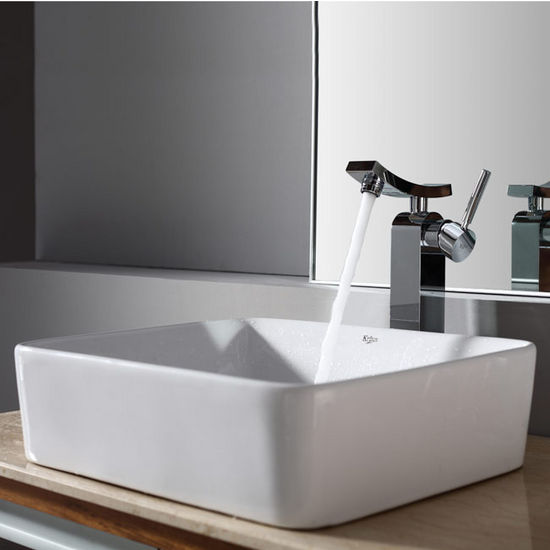 "Kraus White Rectangular Ceramic Sink and Unicus Chrome Faucet, 19-1/5""W x 15-1/5""D x 5-2/7""H"