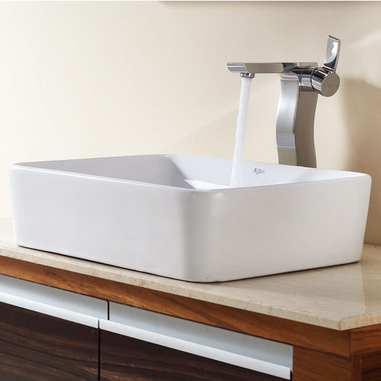 "Kraus White Rectangular Ceramic Sink and Sonus Chrome Faucet, 19-1/5""W x 15-1/5""D x 5-2/7""H"