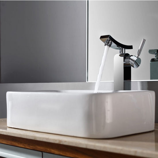 "Kraus White Rectangular Ceramic Sink and Unicus Chrome Faucet, 19-7/16""W x 11-6/7""D x 5""H"