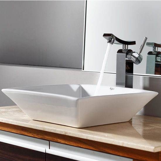 "Kraus White Square Ceramic Sink and Unicus Chrome Faucet, 16-4/5""W x 16-4/5""D x 4-5/7""H"